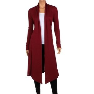 (+Size) Knee-Length Hacci Cardigan